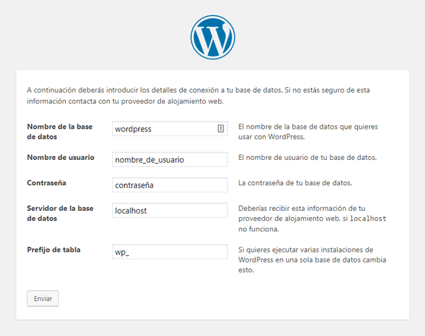 Instalar WordPress Paso 2