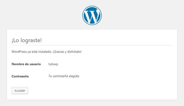 Instalar WordPress Último Paso