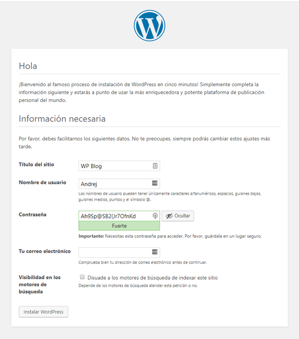 Paso 4 Instalar WordPress