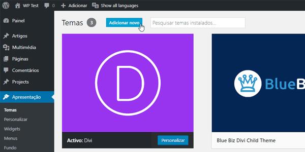 Instalar o Divi WordPress